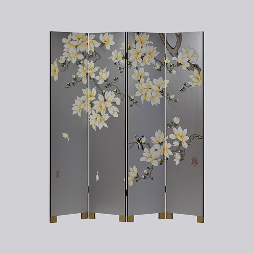 4 Panel Hand Painted Screen - Silver Orange Magnolia