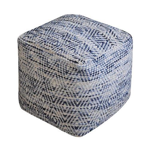 Block Pouf (Ivory&Blue)