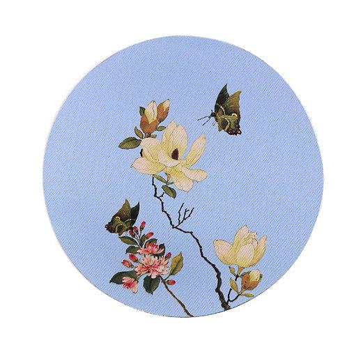 Mouse Pad (Blue Butterflies & Flowers)