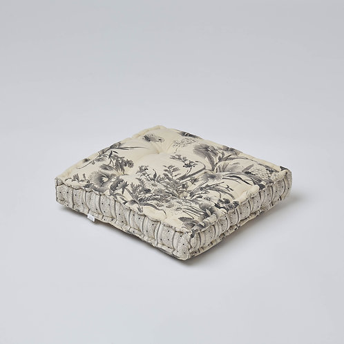 Quilted Cotton Block Cushion (Grey)