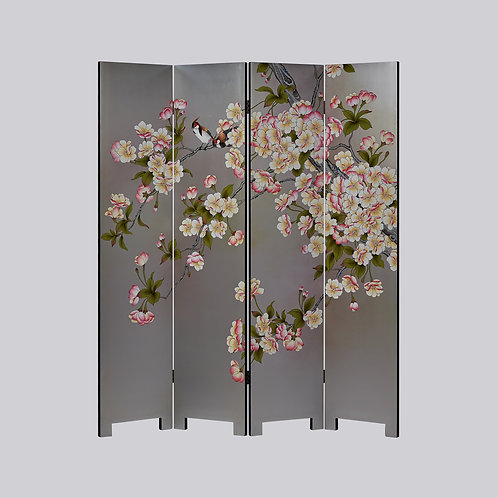 4 Panel Hand Painted Screen - Silver Pear Blossom