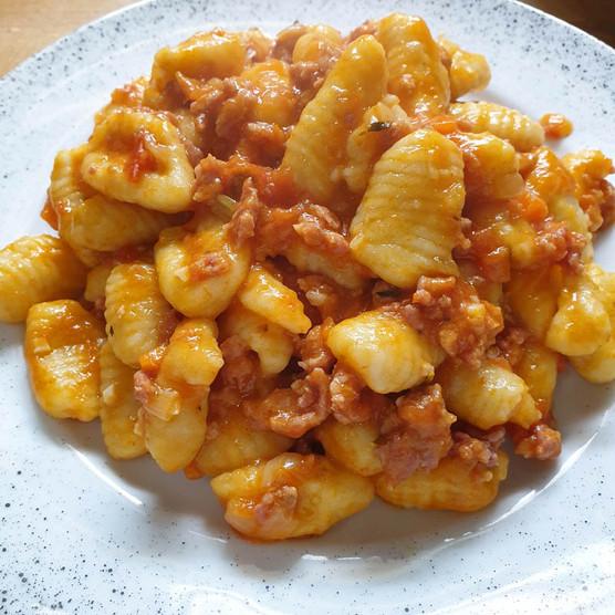 Potato Gnocchi with Sausage Ragù