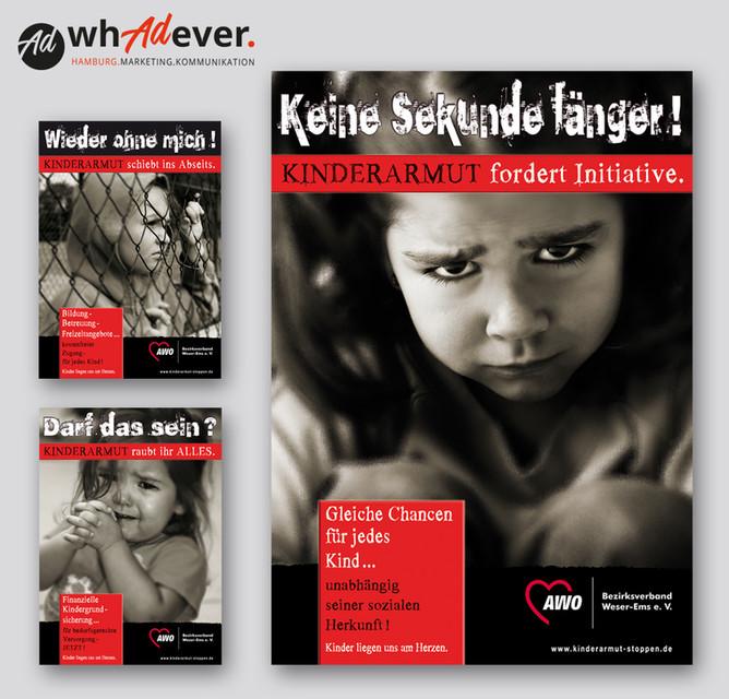 "ARBEITERWOHLFAHRT  Prämierte Imagekampagne im Rahmen der Sozial-Kampagne: ""Kinderarmut stoppen"".  Print. Kampagne. Web."