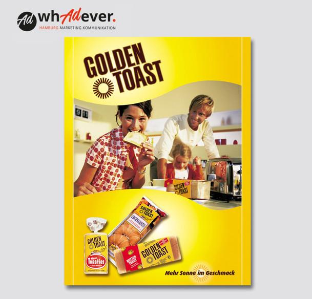 GOLDEN TOAST  Citylight-Poster und Imageanzeige.