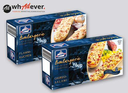 HATTING BOULANGERIE  Konzeption und Gestaltung eines Produktsortiments mehrer Baguettes für ALDI.