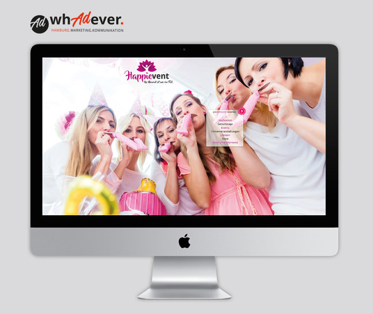 HAPPIEVENT  Schaffung einer Markenidentität. Naming. Corporate Design. Web. Print. Klassisch.