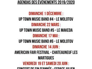 AGENDA DES EVENEMENTS 2019/2020