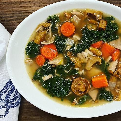 Chicken, Wild Chanterelle & Barley Soup