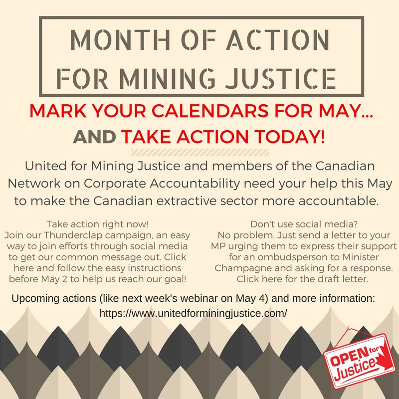 May Month of Action for Mining Justice!
