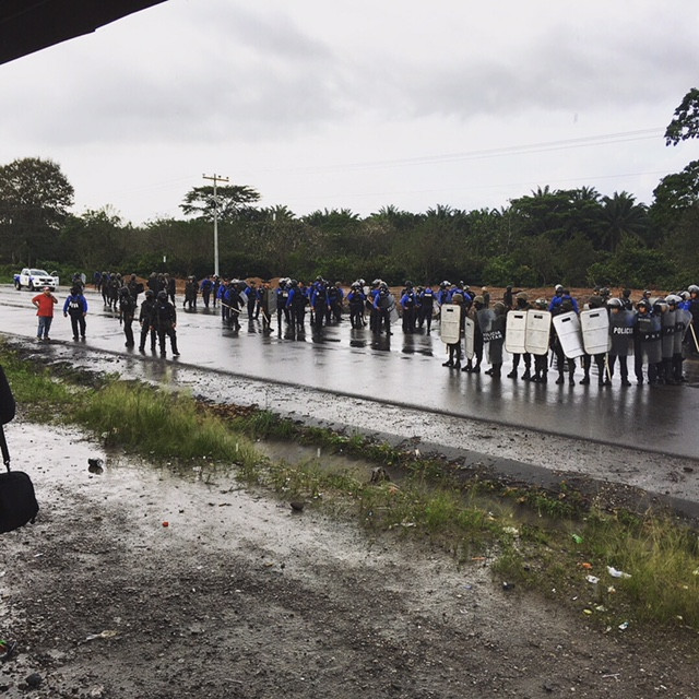 In response to approximately 20 unarmed community members blocking the road, police and military units were sent in to violently evict them.