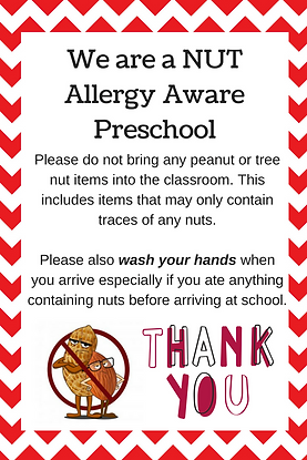 We are a NUT Allergy Aware preschool