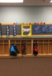 Our artwork display above the children's cubbies