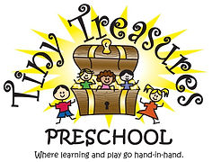 "Logo: Tiny Treasures Preschool ""Where learning and play go hand-in-hand"""