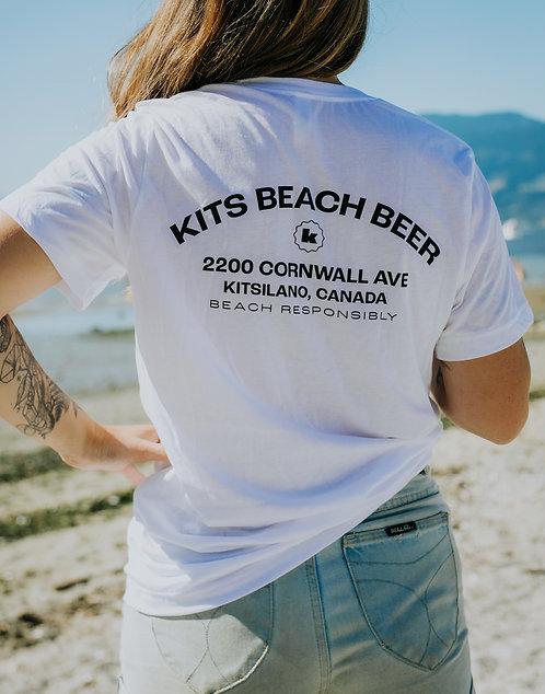 Kits Beach Address Tee Shirt - White