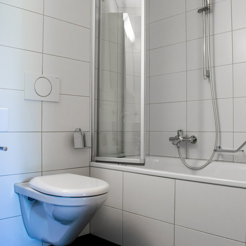 Ausbaustandard Badezimmer (es gibt Wohnungen mit Dusche oder mit Badewanne)