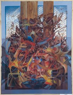 Barrier, Mixed Media on Canvas, 120cmX92, 1980