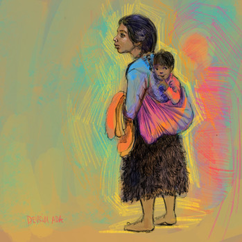 Femme de San Juan Chamula et son fils