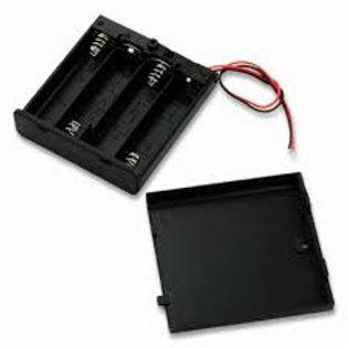 בית סוללה ל4 סוללות AAA עם מכסה ומתג