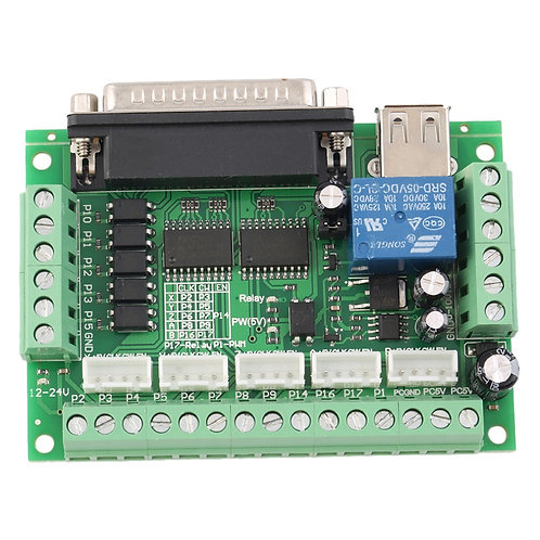 5 Axis CNC Interface Adapter Breakout Board For Stepper Motor Driver Mach3 + USB
