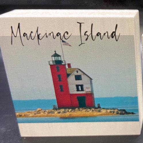 "Round Island Lighthouse ""Mackinac Island"" Art Block"