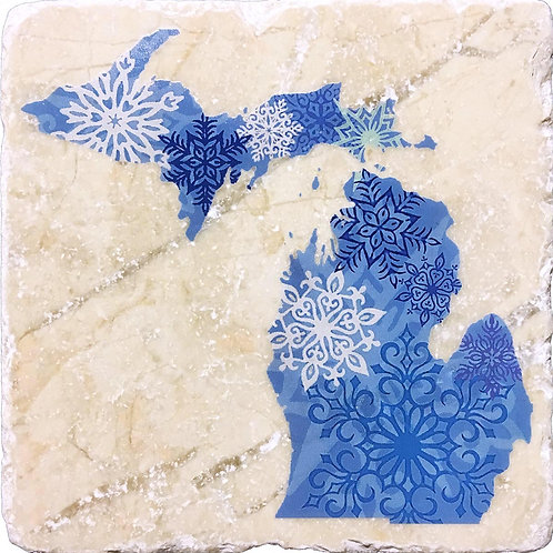 Michigan Winter Snowflakes Coaster