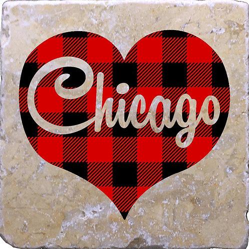 Chicago Word Buffalo Plaid Coaster