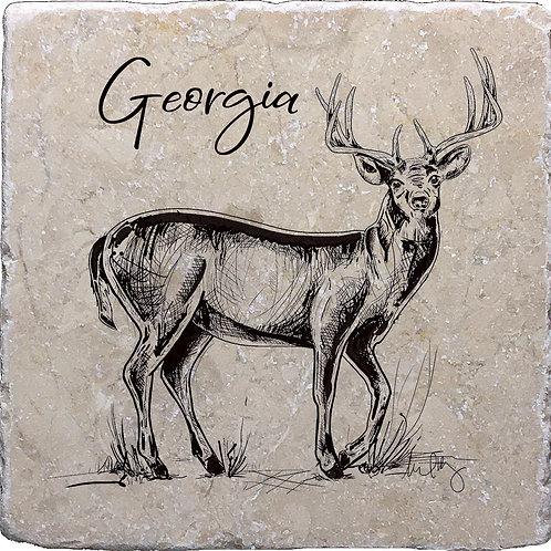 Buck Drawing Georgia Coaster