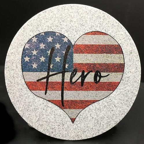 Car Coaster 2-Pack - Hero American Flag Heart