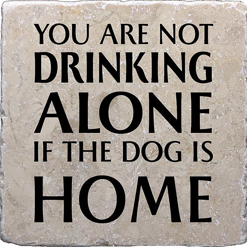 You Are Not Drinking Alone if the Dog or Cat is Home No State Coaster