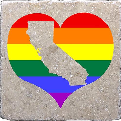 California LGBTQ+ Pride Heart Coaster