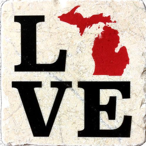 Love Michigan Coaster