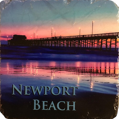 Newport Beach Pier at Night Coaster in Color