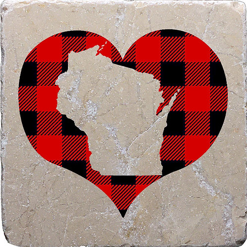 Buffalo Plaid Heart Wisconsin Coaster