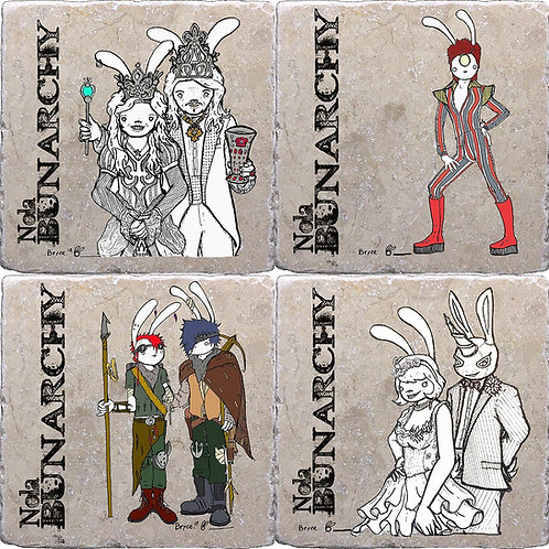Set of 4 Different Bunarchy Poster Coasters