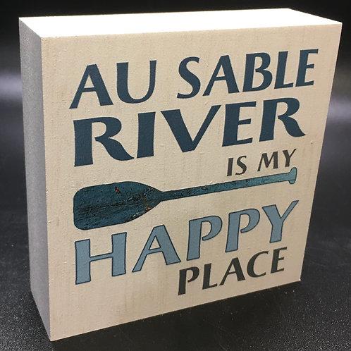 Au Sable River is my Happy Place Art Block