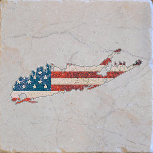 Long Island New York American Flag Coaster