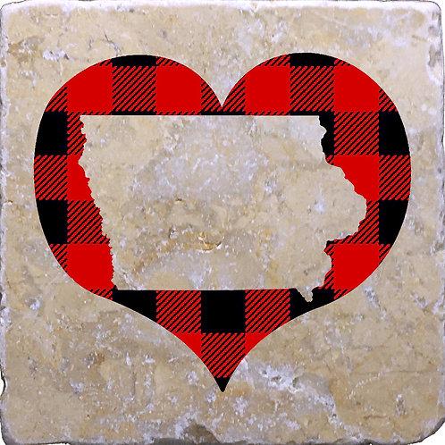 Iowa Silhouette Heart Coaster