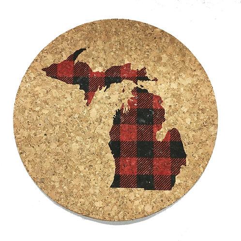 Michigan Buffalo Plaid Cork Trivet or Coaster