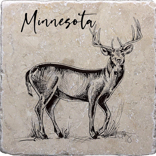 Buck Hand Drawn Minnesota Coaster