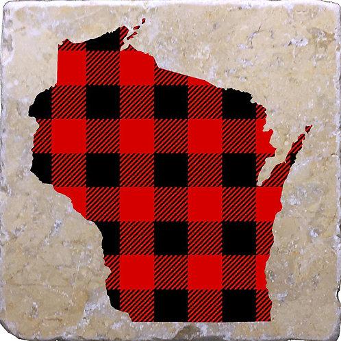 Buffalo Plaid Wisconsin Coaster