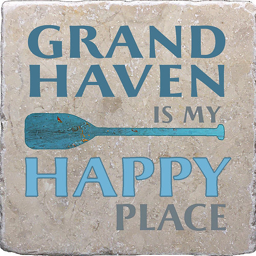 Grand Haven South Haven Is My Happy Place Coaster