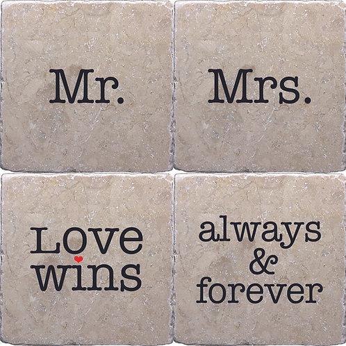 Wedding Gift Set of 4 Coasters