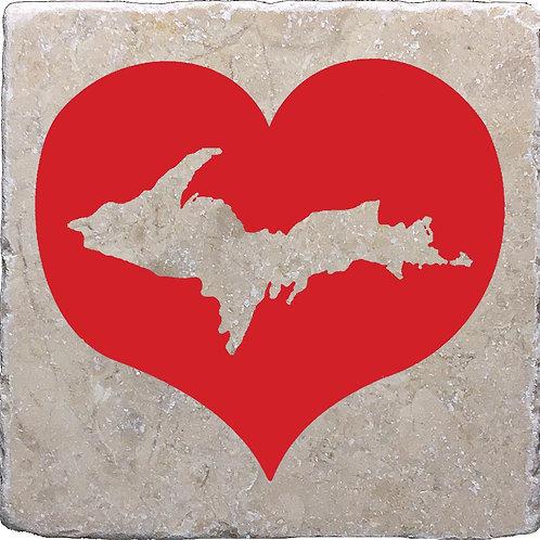 Red Heart U.P. Upper Peninsula Michigan Coaster