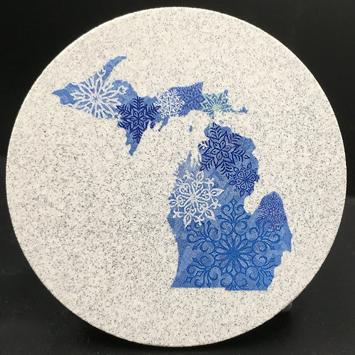 Car Coaster 2-Pack -Michigan Winter Snowflakes