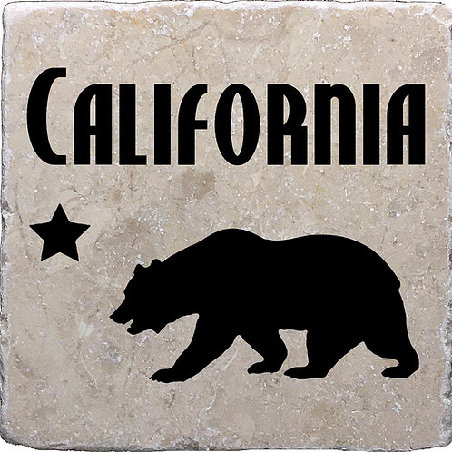California Word Bear Star Coaster