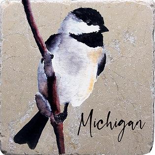 Chickadee Front Michigan Coaster