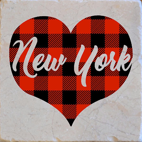 New York Word Buffalo Plaid Coaster