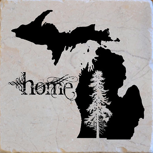 Michigan Home Tree Coaster