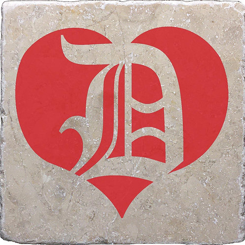 Red English D Heart Coaster
