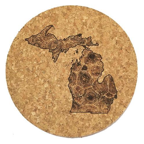 Petoskey Stone Michigan Cork Trivet or Coaster